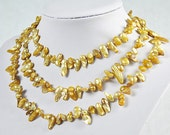 Baroque Pearl Necklace, Yellow Pearl Necklace, Yellow Necklace-Single Strand 53 Inches Light Yellow Necklace(Fn0242)