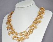 Champagne Pearl Necklace,5 Layers Necklace,Coffee Necklace - 5 Strands 22 Inches  5-6mm Champagne Pearl Necklace(FN0474)