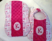I Love Mommy/Daddy Matching Bib and Burp Cloth