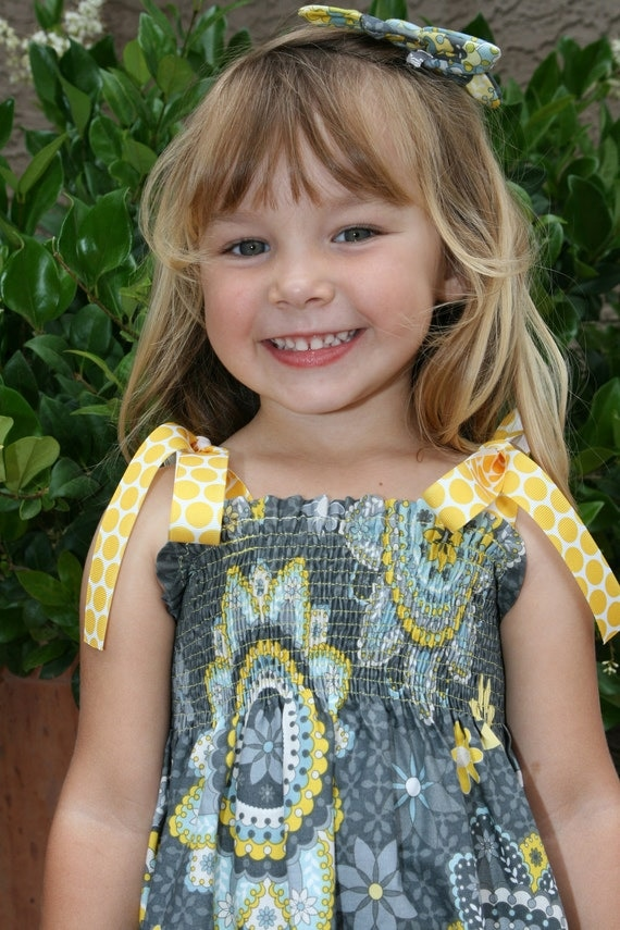 Summer Dress and Matching Hair Bow - Gray and Yellow