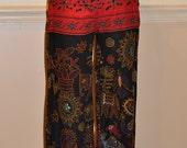 Vintage Bohemian Palazzo Pants Cropped Tribal India Pants