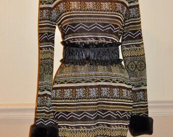 Vintage Mini Dress , Small Tribal Print Dress