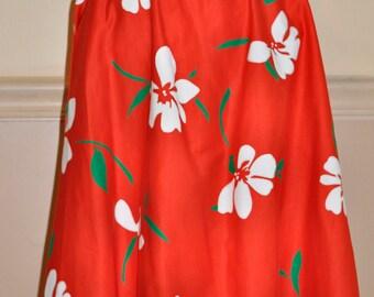 Vintage Red Floral Skirt- Rockabilly Style Skirt