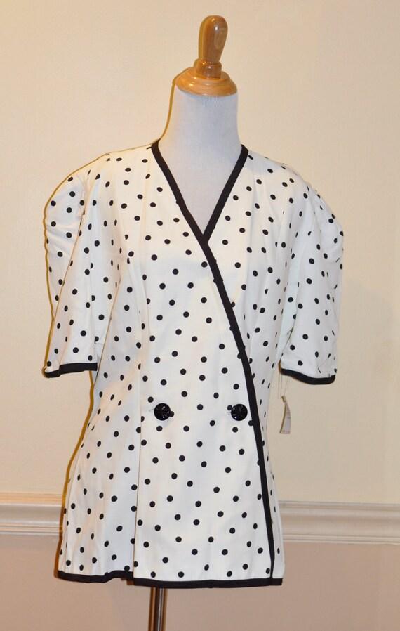 RESERVED FOR Darleen-Vintage Black and White Polka Dot Womans Blazer - Large/Extra Large Blazer