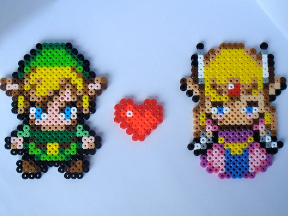 Link and Zelda Love -  Legend of Zelda Perler Bead Sprite Magnets