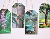 Authentic Vintage Nature Illustrations Handmade Tags - set of 4 tags threaded with twine for tying