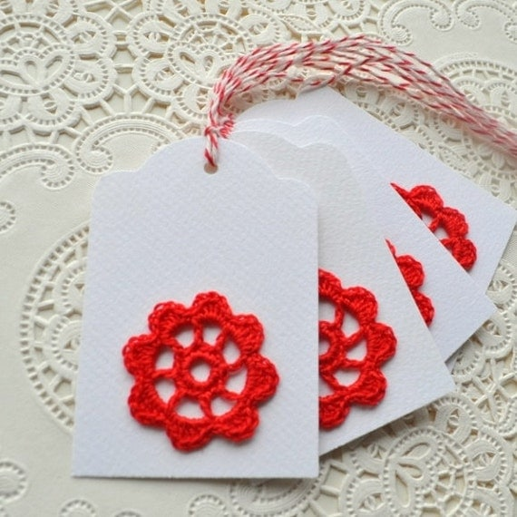 Red Crochet Motif Gift Tags- set of 4 tags with red baker's twine for tying