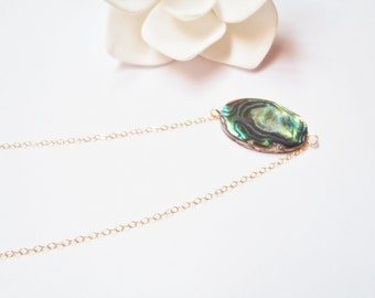 14k Gold Filled Chain Necklace, Paua Shell, Abalone, Made in Hawaii