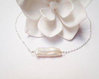 Freshwater Pearl Sterling Silver Chain Necklace, Made in Hawaii