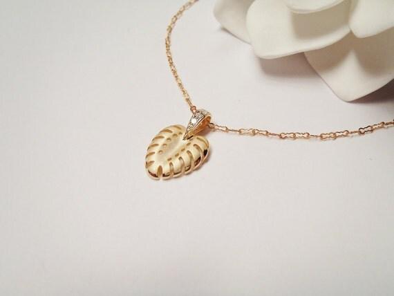 14k Gold Vermeil Hawaiian Fern Charm 14k Gold Chain Necklace