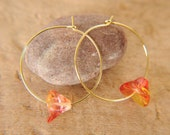 limited edition . gold hoop earrings. Czech beads. Poppy. modern everyday jewelry