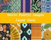 Retro fabric paper pack digital scrapbooking 300dpi