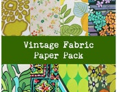 Retro Green fabric paper pack digital scrapbooking 300dpi