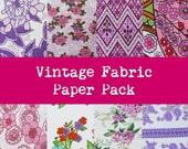Retro Pink fabric paper pack digital scrapbooking 300dpi