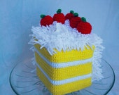 Crochet Piece of yellow cake with coconut frosting and cherries tissue box cover- Ready to ship