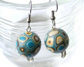 Polymer Clay Earrings With Retro Pattern in Turquoise and Ecru Dangle Earrings