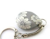 Polymer Clay Keychain Decoration Silver Teardrop  White Flowers