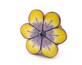 Flower Ring Polymer Clay Ring Adjustable Flower in Yellow and Purple