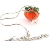 Pumpkin Pendant Halloween Jewelry Polymer Clay Pumpkin Halloween Pendant