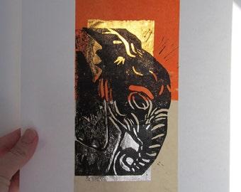 Elephant Linocut Collage - free shipping