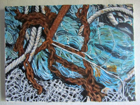 Fishing Nets and Chains Original Acrylic Painting