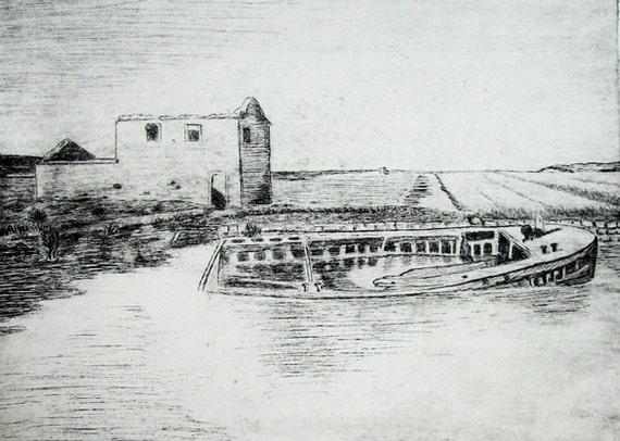 Boat in Salt Field Original Etching - free shipping
