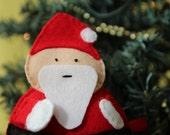 Santa Claus softie, hand stitched felt ornament, Christmas decor.