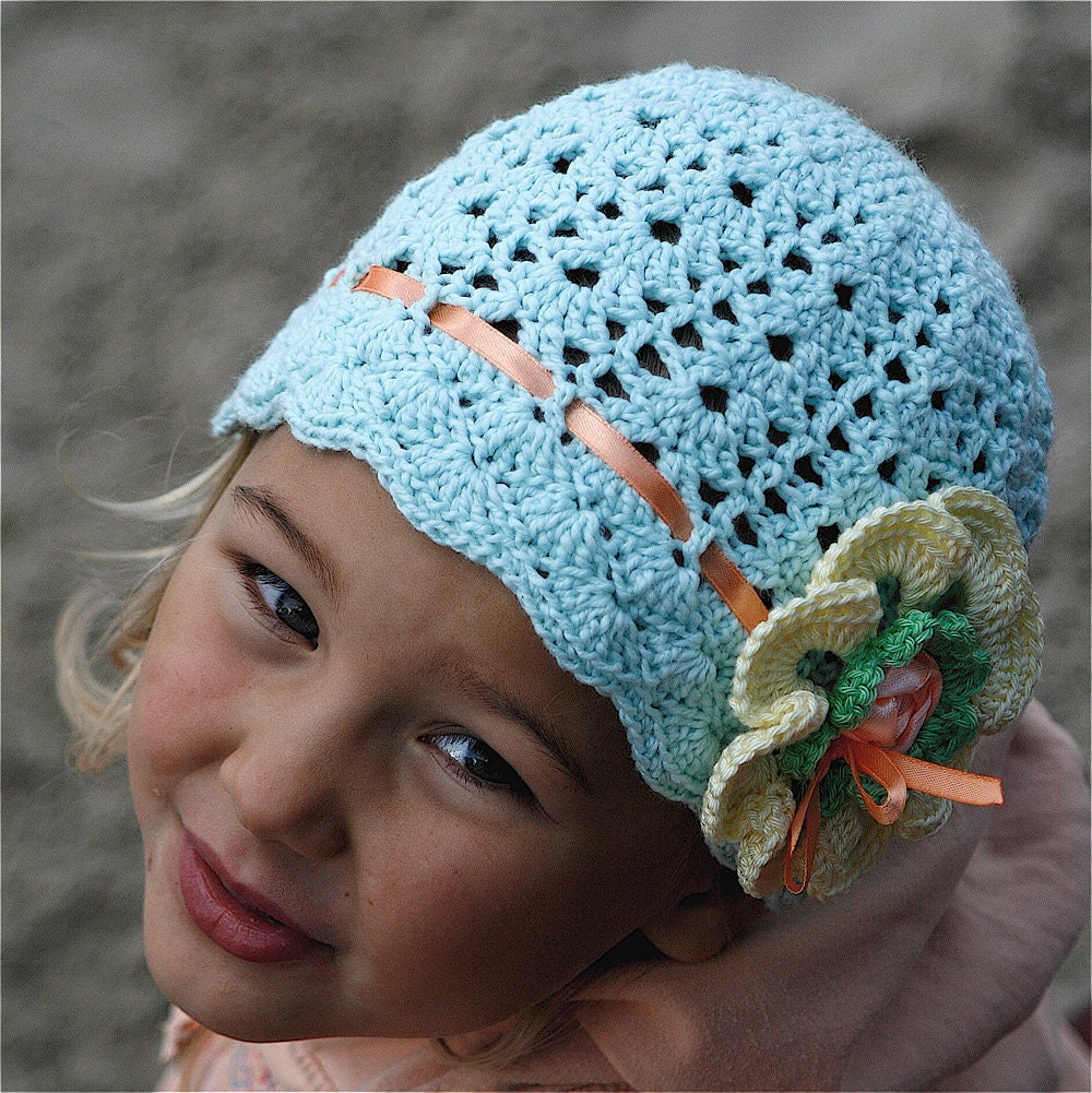 Crochet Cotton Lace Hat With Flower For By CrochetbyMarianneS