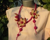 Necklace Felt-Desrt Lilac Flower, handmade, OOAK