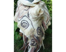 Felt Cape,Felt Shawl,European Design,Woman Cape, Wool Felt Cape,Italian shiffon silk ,Merino Felt Cape,Nuno Felt Cape,Handmade,Autumn swirls