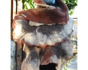 Felt neck wrap shawl-handmade, OOAK