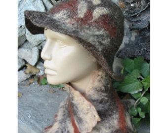 Felt Hat, Hemo Felt Hat,Felt Merino Wool Hat,Felt  Woman Hat,Broun Hat,Felt String Hat,Felt Lady Fashion Hat,Handmade,OOAK