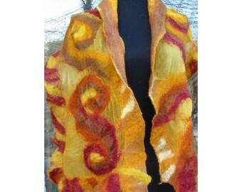 Nuno Felt Scarf,Au Wool Felt Scarf,Nuno Felt Wrap Shawl,Woman Shawl,Wool Shawl,European Art Deco,Nuno Felt Skarf,Amber Yellow Scarf,Handmade