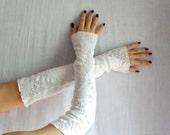 White fingerless gloves -