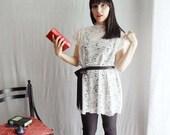 White lace tshirt tunic dress - Size XS - Last piece