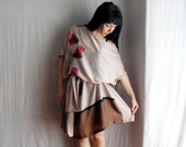 Beige asymmetrical off shoulder tunic dress - silk and viscose - Spring fashion - One of a kind