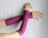 Plum purple jersey fingerless gloves - purple gloves fingerless arm warmer jersey
