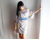 Grey kimono dress in satin - Obi belt included - Sizes  S-M or L - LAST PIECE