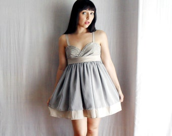 Light grey party dress in cotton/silk - babydoll dress - One of a kind