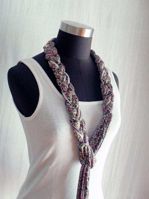 Bohemian belt necklace in cotton - flowers print
