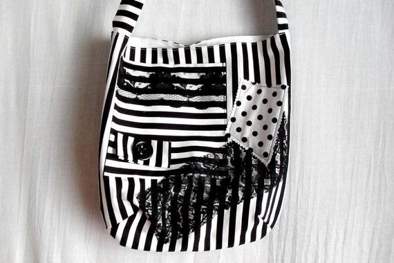 Black-white striped bag - Ready to ship -