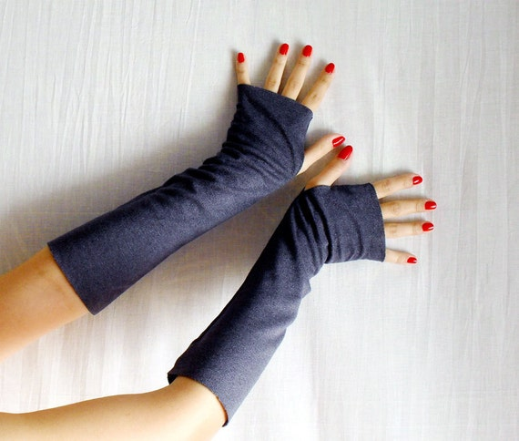 Thumbhole fingerless gloves, grey gloves, long gloves, grey mittens, arm warmers