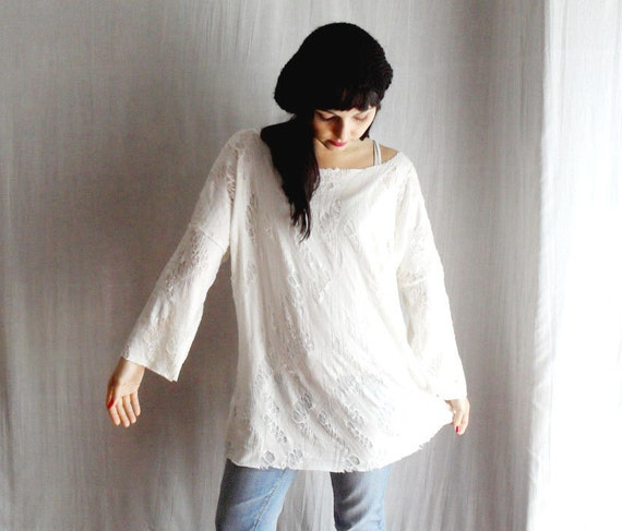 White long tshirt tunic - grunge style - One size - LAST PIECE