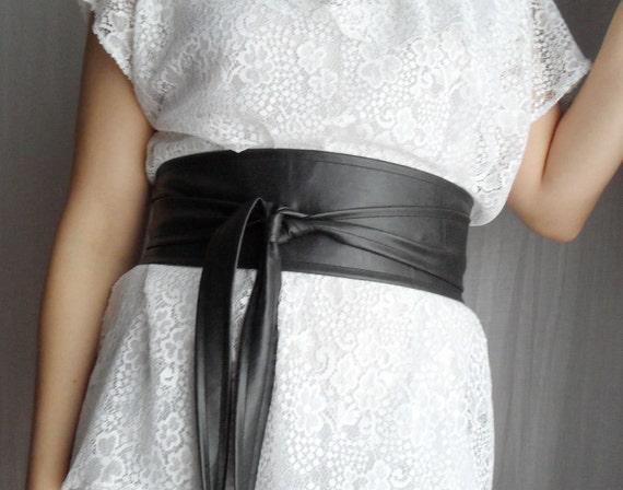 Charcoal grey faux leather obi belt - Sizes S-M - Spring Fashion -LAST PIECE