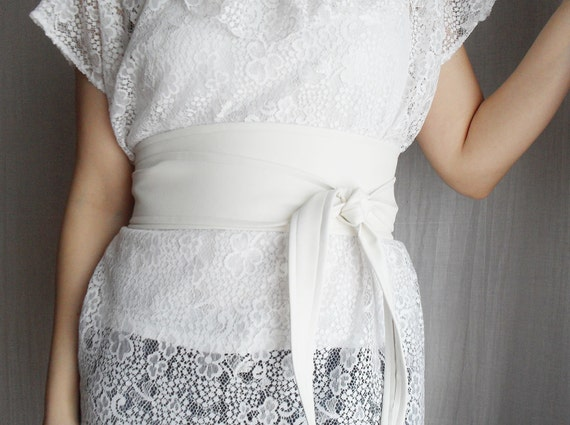 Milky white faux leather obi belt - Sizes S-M and L-XL