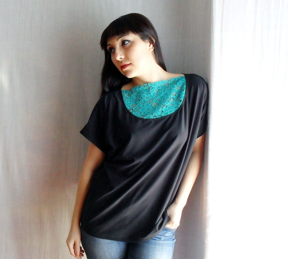Black oversized top  - lace top black green top tunic top womens tshirt