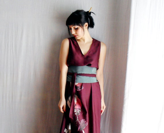 RESERVED for S. - Burgundy long tunic dress with obi belt - Oriental style - One of a kind