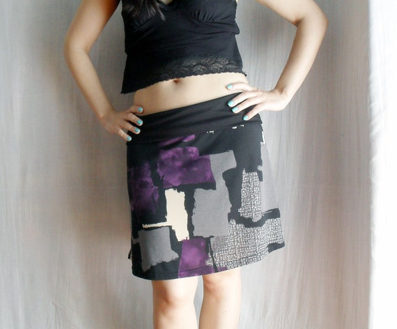 Mini printed skirt in cotton jersey - One of a kind