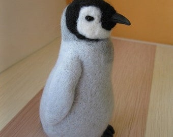 Made to order Penguin Needle felted baby penguin Soft sculpture, Wool figurine, Handmade Ooak animal art doll plushie