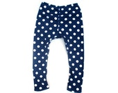 Spotty blue leggings colorful childrens clothing pyjama pants pjs tights real nappy babies blue white spot print unisex